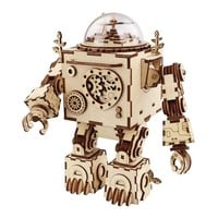 Steampunk Rotatable DIY Robot Wooden Clockwork Music Box Home Decoration Accessories Christmas Gift For Children AM601
