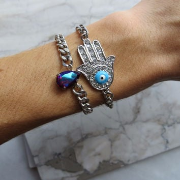 Silver Hamsa Bracelet with Blue Eye and Rhinestones