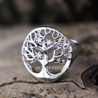 Magic Tree Ring Adjustable Open Ring Silver Plated Jewelry gift idea Free size