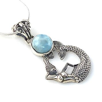Larimar Sterling Silver Mermaid Pendant