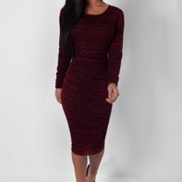 Cento Wine Long Sleeved Midi Dress | Pink Boutique