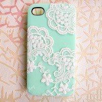 Handmade  Lace  Candy Color Case For iPhone 4/4S