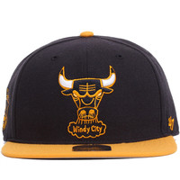 Chicago Bulls Two Tone Sure Shot Snapback Hat Navy / Yellow
