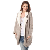 Beige long line cardigan with fleece lining and collar