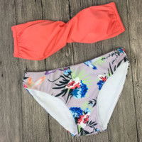 Red strapless and print bottom two piece bikini sets