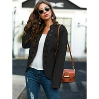 Double Breasted Epaulet Stand Collar Coat