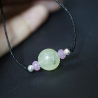 Prehnite Choker - Tiny Rutilated Prehnite Necklace - Green Prehnite Jewelry - He