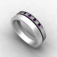 Amethyst ring, Diamond, Palladium, wedding band, mens ring, purple wedding, commitment, mens wedding ring, men amethyst ring