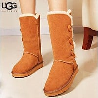 Bunchsun UGG Fashion New Button Solid Color Women Men Keep Warm Fur Shoes Boots