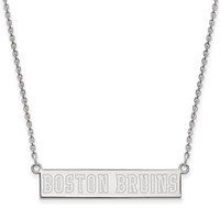 Sterling Silver NHL Boston Bruins SM Bar Necklace, 18 In