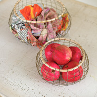 Set of 2 Round Wire Baskets with Bamboo Rims