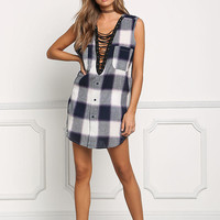 White and Navy Gingham Lace Up Tunic Top