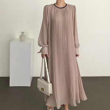 SuperAen French Loose Solid O Neck Draped Ankle-Length Woman Dress