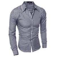 Men Plaid Slim Long Sleeve Shirt [10831835331]
