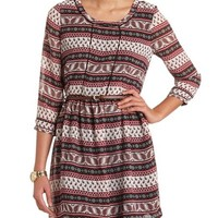 PAISLEY BELTED PEASANT DRESS