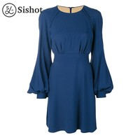 women autumn blue plain long sleeve lace up o neck lantern sleeve button a line mini casual dress
