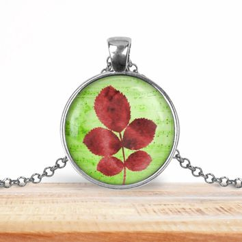 Tree leaves pendant necklace, choice of silver or bronze, key ring option