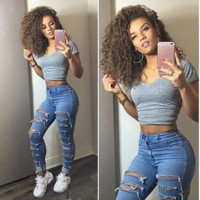 Sexy Interval Hollow Blue Jeans