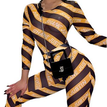 New Women's Fashion Sexy Printed Mesh Perspective Striped Long Sleeve Jumpsuit