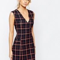 Love A line Mini Dress with Pockets in Check at asos.com