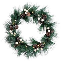 Winter Cottage Collection Green Spruce LED Wreath | Dunelm