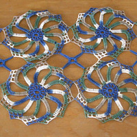 Openwork Crochet Lace Table Runner -- Blue, Green, Beige -- Table Top Decor - Coffee Table Runner - Dining Room Decor - Holiday Table Runner