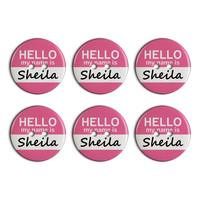 Sheila Hello My Name Is Plastic Resin Button Set of 6