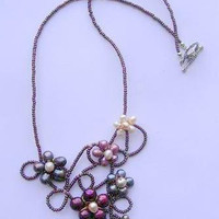 Multicolor Necklace. Necklace with flowers made with freshwater pearls. Multicolor freshwater pearls necklace. Multicolor flowers necklace.