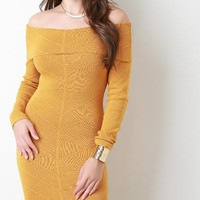 Off-The-Shoulder 'Textured' Sweater Dress