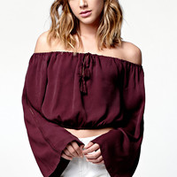 Kendall and Kylie Bell Sleeve Cropped Off-The-Shoulder Top at PacSun.com