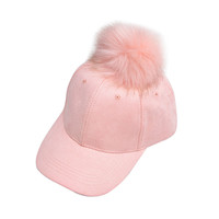 Women Men Adjustable Baseball Cap Unisex Faux Buckskin Pom Pom Ball Suede Winter Autumn Suede Hats Candy Color Adult Fashion Cap