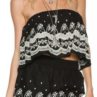 SWELL MIJA CROPPED FLUTTER TOP