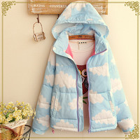 Kawaii clouds hooded cotton coat