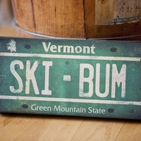 Made to Order - Ski Bum Vermont License Plate Gallery Wrapped Canvas Wall Art 6x12x1.5 SIGNED
