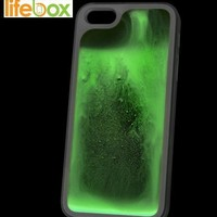 Lifebox Glow Iphone 5 & 5s Case - Glow in the Dark Lava fluorescent Water Rubber Case - 1 Pack - Retail Packaging - Lifetime Warranty (Green)