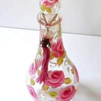 Decorated Perfume Bottle Hand Painted Roses Romantic Shabby Chic Decor