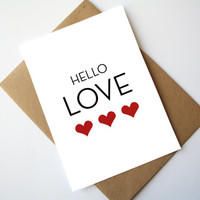 Hello Love Card Love Card Valentine's day card Romantic Red Heart