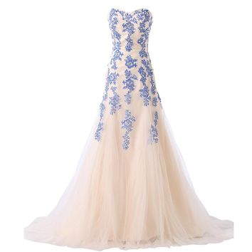 Grace Karin Blue Long Mermaid Evening Dress  Lace Appliques Prom Dresses Women Formal Dress Red Mermaid Evening Gowns 6171