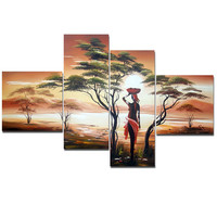 Woman of Africa Landscape Canvas Wall Art Oil Painting