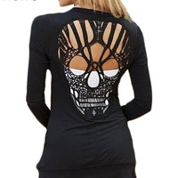 New Fashion Skull T Shirt Women Stylish Scoop O Neck Long Sleeve Hollow Out Skull Pattern T-Shirt For Womens Tops Tees 60293