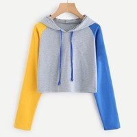 Womens Patchwork Long Sleeve Hoodie Sweatshirt Casual Hooded Pullover Tops Blouse Top Sweatshirt Woman Harajuku Fashion kpop #2S