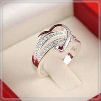 New Exquisite Rhinestone Heart Lover's Ring Couple Rings Rings for Women Wedding Rings Valentine's Gift  Free shipping