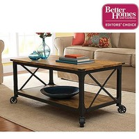 Better Homes and Gardens Rustic Country Coffee Table, Antiqued Black/Pine Finish - Walmart.com