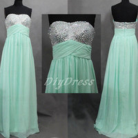 A-line Sweetheart-neck Mint Chiffon Prom Dresses Sequins Beaded Bodice Long 2014 Prom Dresses