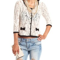 Floral Lace Button-Down Cardigan: Charlotte Russe