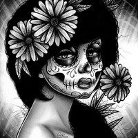 Dia De Los Muertos Sugar Skull Girl Portrait Daisy By Carissa Rose Art Print 5x7, 8x10, or 11x14 in Day of The Dead Black And White