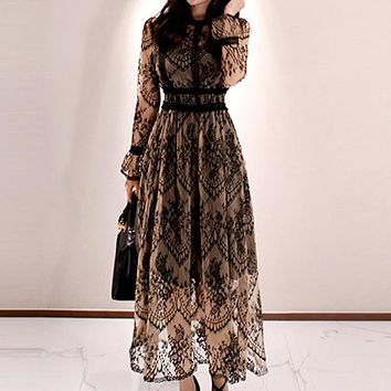 Elegant Sexy Women Vintage Lace Long Sleeve O-Neck Robe Femme OL High Waist Casual Slim Party Dresses