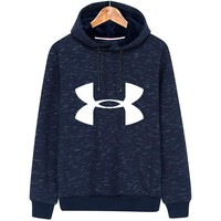 Under Armour Autumn and winter new men's LOGO hooded sweater blue