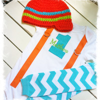 BOYS FIRST BIRTHDAY Outfit-Chevron Birthday Party-Aqua and Orange Birthday Set-Birthday Bodysuit with Hat and Warmers