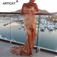 Articat Irregular Ruffles Sexy Long Maxi Christmas Dress Women Red Satin Backless Bodycon Dress Elegant Split Party Dress 2019